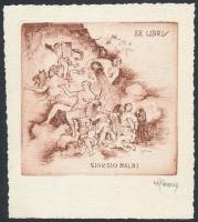 Attilio Cavallini (1888 - 1946). Ex Libris Dr. Giorgio Balbi. Rézkarc, papír, jelzett, 9×9 cm