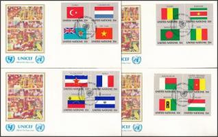 Flags (I) set blocks of 4 4 UNICEF FDC, Zászlók (I) sor 4 négyestömbben 4 db UNICEF FDC-n