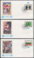 Flags (IV) margin set 16 UNICEF FDC, Zászlók (IV) ívszéli sor 16 db UNICEF FDC-n