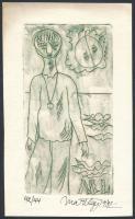 Mart Lepp (1947-): Ex libris. Rézkarc, papír, sorszámozott, jelzett, 14×7.5 cm
