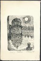 Valter Kraner (1907 - 1997) ex libris, Vadstena Akadémia. Rézkarc, papír, jelzett, 9.5x7 cm