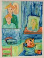 Emanuel jelzéssel: Csendélet családtagokkal. Akril, papír, felcsavarva, 58×47 cm