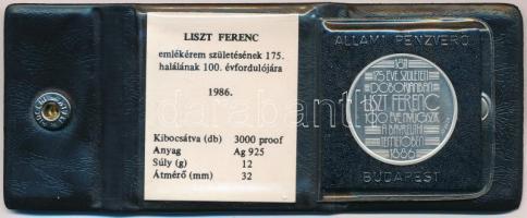 Fülöp Zoltán (1951-) 1986. 175 éve született Doborjánban Liszt Ferenc - 100 éve nyugszik a bayreuthi temetőben Ag emlékérem tanúsítvánnyal ÁPV tokban (12,07g/0,925/32mm) T:1(PP) ujjlenyomat