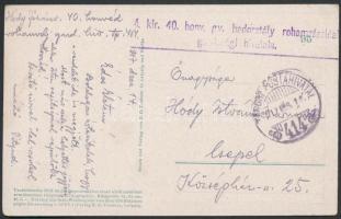 1917 Tábori posta képeslap / Field postcard M.kir. 40. honv. gy. hadosztály rohamzászlóalj gazdasági hivatala + TP 414
