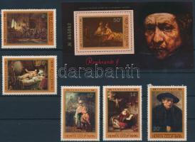 Rembrandt; Festmény sor + blokk, Rembrandt; Painting set + block