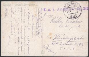 1918 Tábori posta képeslap / Field postcard K.u.k. Autokolonne Nr. 340. + FP 485
