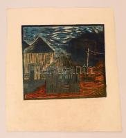 Jelzés nélkül: Házak. Linó, papír, foltos, 25×30 cm
