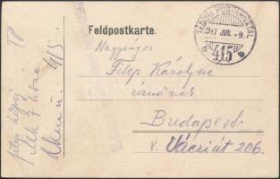 1917 Tábori posta levelezőlap / Field postcard M.kir. 7. honvéd tábori ágyus ezred + TP 415 b