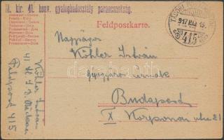 1917 Tábori posta levelezőlap / Field postcard M.kir. 41. honv. gyaloghadosztály parancsnokság + TP 415