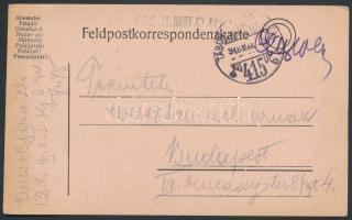 1918 Tábori posta levelezőlap / Field postcard M.KIR. 12. HONV. GY. EZRED + TP 415 b