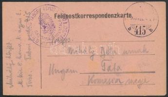 1917 Tábori posta levelezőlap / Field postcard K. KIR. 8. HONVÉD TÁBORI ÁGYUS EZRED I. OSZTÁLY GAZDASÁGI HIVATALA + TP 415 b