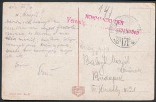 1916 Tábori posta képeslap / Field postcard KOMMANDO DER Vereinig... + HP 171