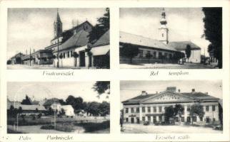 Paks, Fő utca, Erzsébet szálló, Református templom és park