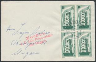1956 december Levél Budapestre, a postaforgalom leállítása miatt visszaküldve