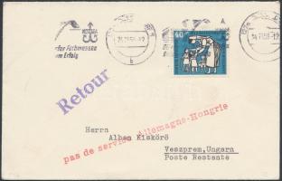 1956 november Levél Budapestre, a postaforgalom leállítása miatt visszaküldve