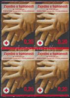 Vöröskereszt öntapadós négyestömb, Red Cross self-adhesive block of 4