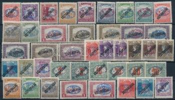 Debrecen (I) 1919 Teljes Köztársaság sor portóval + 8 db fordított ill. kettős felülnyomású bélyeg, garancia nélkül
