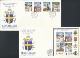 1986 II. János Pál pápa látogatása sor Mi 625-628 + blokk Mi 30 2 FDC-n