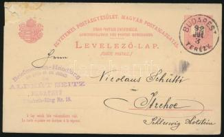 1892 UPU 5kr válaszos levelezőlap Németországba (15.000) / 5kr PS-reply card to Germany (sérült / demaged)