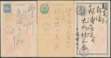 3 klf régi japán díjjegyes levelezőlap