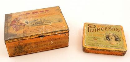 1900-1910 2 db. fém szivarka dobozozok, Dames Egyiptomi szivarka, Princesas szivarka, kopottas, 9x8x1.5 cm és 12x9x1.5 cm.