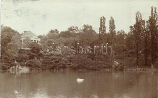1906 Vienna, Wien; park with lake, pavilion, photo