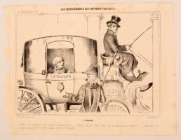 1839 A közkocsik kényelmetlenségei Politikai karikatúra. Kőnyomat / Inconveniences of public transport Lithographed political caricature. 24x32 cm