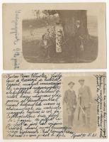 1911-1912 Vadászati életképek valószínűleg Párkányról és Galgagyörkről; Beliczay Gyula által, képeslapként elküldött fotók (ő is szerepel rajtuk) kedélyes sorokkal, 4 db
