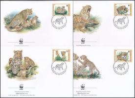 WWF: Leopárd négyestömb + sor 4 FDC-n + kisív WWF: Leopard block of 4 + set on 4 FDC + minisheet