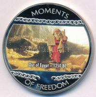 Libéria 2004. 10$ Szabadság pillanatai - Mózes kivezeti népét Egyiptomból i.e. 1250 multicolor T:PP ujjlenyomat, fo. Liberia 2004. 10 Dollars Moments of Freedom - Out of Egypt 1250 BC. multicolor C:PP fingerprint, spotted