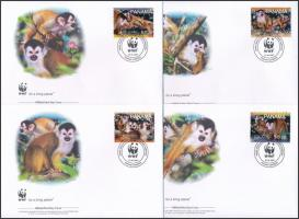 WWF Monkies set 4 FDC WWF: Majmok sor 4 db FDC-n