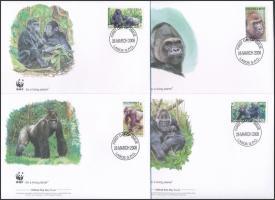 WWF Gorillas set 4 FDC, WWF: Gorillák sor 4 db FDC-n