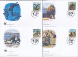 2011 WWF: Oroszlánfókák sor 4 db FDC-n Mi 1143-1146