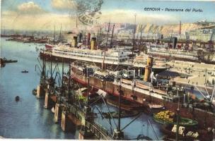 Genova, Panorama del Porto / port, steamships (EK)