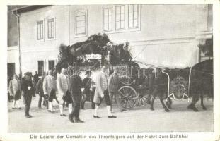 Die Leiche der Gemahlin des Thronfolgers auf der Fahrt zum Bahnhof / Franz Ferdinand and his wife's funeral, Ferenc Ferdinánd temetése; a trónörökös feleségének testét az állomásra viszik