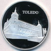 Spanyolország DN Toledo jelzetlen Ag érem, karton díszdobozban (23,25g/40mm) T:PP ujjlenyomat Spain ND Toledo Ag commemorative medallion, without hallmark, in cardboard case (23,25g/40mm) C:PP fingerprint