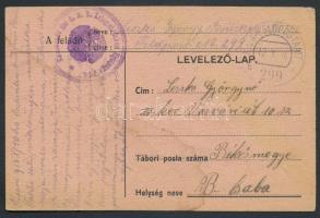 1916 Tábori posta levelezőlap Kommando der k.u.k. Kriegsbrücken + FP 299 b