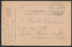1917 Tábori posta levelezőlap TP 642