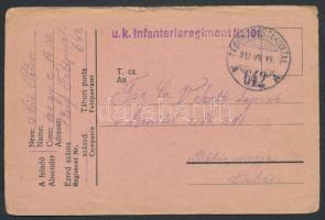 "Austria-Hungary field postcard, Tábori posta levelezőlap ""K.u.k. Infanterieregiment Nr.101"" + ""TP 642 A"""