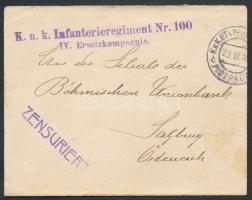~1918 Tábori posta levél K.u.k. Infanterieregiment Nr.100 / IV. Ersatzkompagnie + EP PIOTRKÓW c