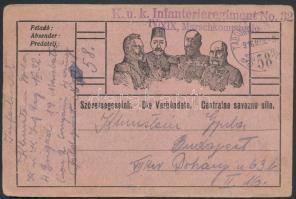 1916 Tábori posta levelezőlap K.u.k. Infanterieregiment No.32. IV/XIX Marschkompagnie + TP 58