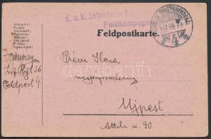 1917 Tábori posta levelezőlap K.u.k. Infanterieregiment + TP 4 B