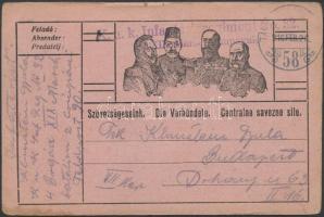 1916 Tábori posta levelezőlap K.u.k. Infanterieregiment No.32. + TP 58