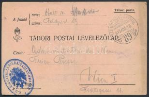 1915 Tábori posta levelezőlap K.U.K. 8tes KAVALLERIEBRIGADEKOMMANDO + TP 89