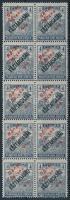 Bánát-Bácska 1919 Arató/Köztársaság 4f 10-es tömb piros felülnyomással, garancia nélkül (100.000)