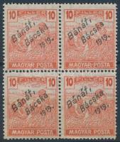 Bánát-Bácska 1919 Magyar Posta 10f négyestömb garancia nélkül (40.000)