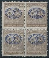Debrecen I. 1919 Arató 20f négyestömb, garancia nélkül (180.000)