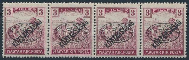 Debrecen I. 1919 Arató/Köztársaság 3f négyescsík garancia nélkül (80.000)