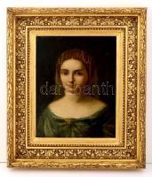 Ismeretlen festő: Női képmás gyöngysorral (19 sz.v.). Olaj, vászon, díszes aranyozott keretben, 38×31 cm
