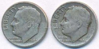 Amerikai Egyesült Államok 1946-1947. 1D Ag Roosevelt (2x) T:2- USA 1946-1947. 1 Dime Ag Roosevelt (2x) C:VF